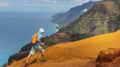 The most famous hike on Kauai - the Kalalau Trail on the Na Pali Coast.
